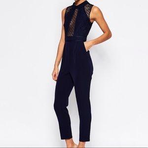 ASOS Navy Lace Jumpsuit Sleeveless Long Pants